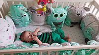 Комплект Постелька в детскую кроватку, бортики Игрушки и бонбон бортики.