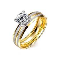 Женское кольцо из нержавеющей стали с позолотой Любовь навсегда 182039 (18.2 19.0 размеры в наличии)