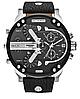 Мужские часы Diesel Brave, кварцевые, элитные часы Дизель Брейв,кожанный ремешек, черные с серебром