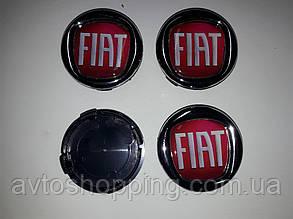 Колпачки, заглушки на диски Fiat 60 мм / 56 мм  Красный цвет