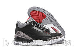 Мужские кроссовки Air Jordan Retro 3 (Black/Red/Cement Grey)