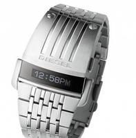 Наручные часы Diesel Predator,Дизель Хищник  бегущая строка,стальной ремешок,серебряные,оригинал