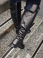 Женские зимние сапоги кожаные черные на молнии, размер 36-40