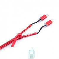 USB шнур Zipper Lightning and Micro USB красный Код:12487