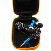 Наушники с микрофоном Samsung 141 + прямоугольный чехол змейка голубые  Код:13203