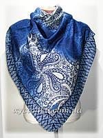 Кашемировый платок винтаж синий