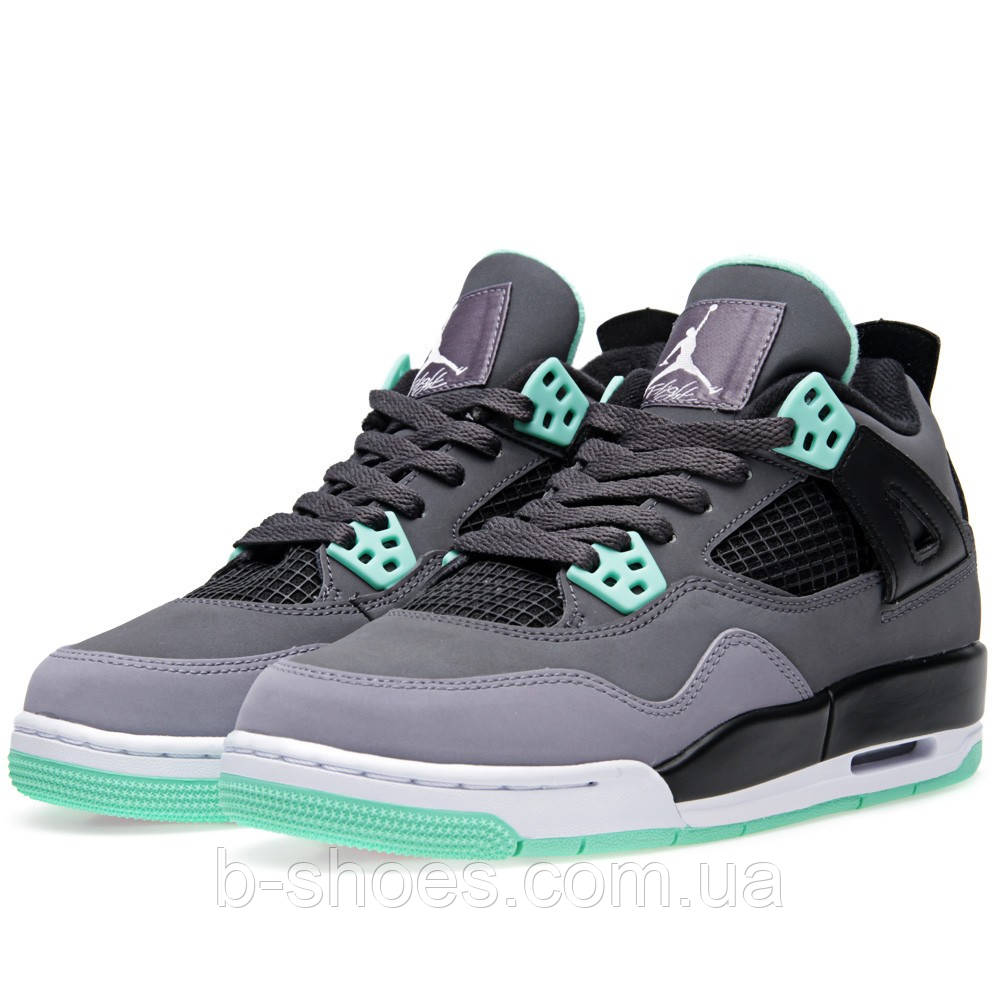 Мужские кроссовки Air Jordan Retro 4 (DarkGrey/GreenGlow/CementGrey)