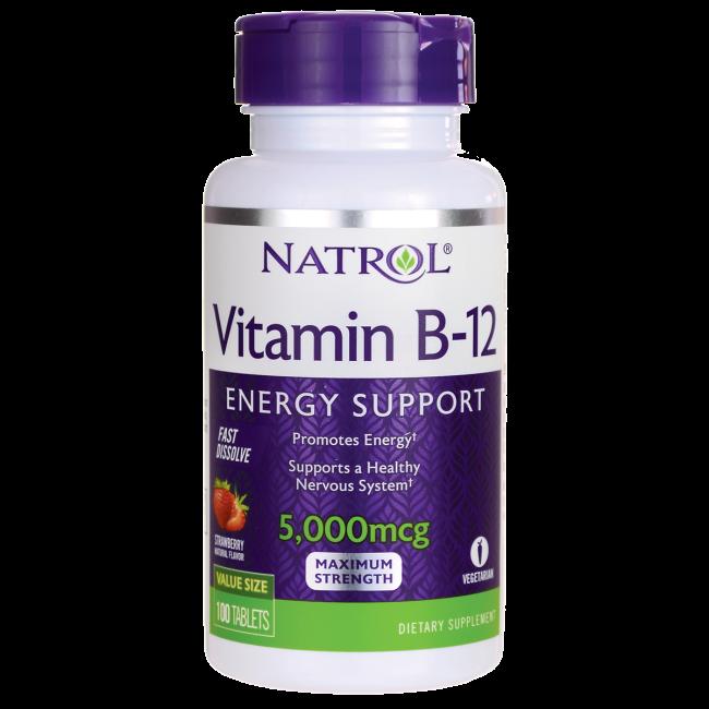 Витамин Б-12 (цианокобаламин) / Vitamin B-12 Fast Dissolve - Strawberry, 5000 мкг 100 таблеток