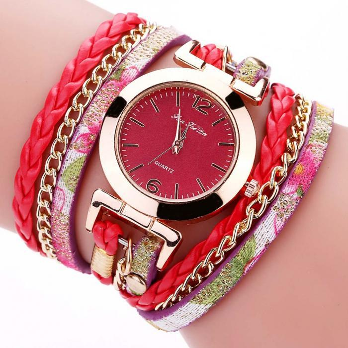 Женские часы браслет с красным ремешком