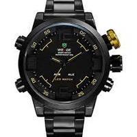 Мужские часы WEIDE Sport Watch BlackYellow, кварцевые, ВЕЙДЕ стальные желтая кнопка , фото 1