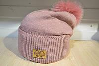 Шапочка на флисе с помпоном из меха цвет розовый