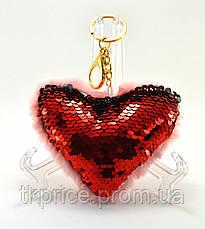 Меховой брелок сердце, фото 2