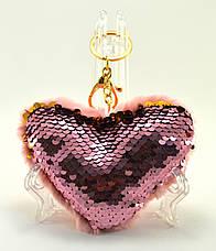 Меховой брелок сердце, фото 3