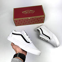 Мужские кеды Vans Old Skool leather white zip, Копия