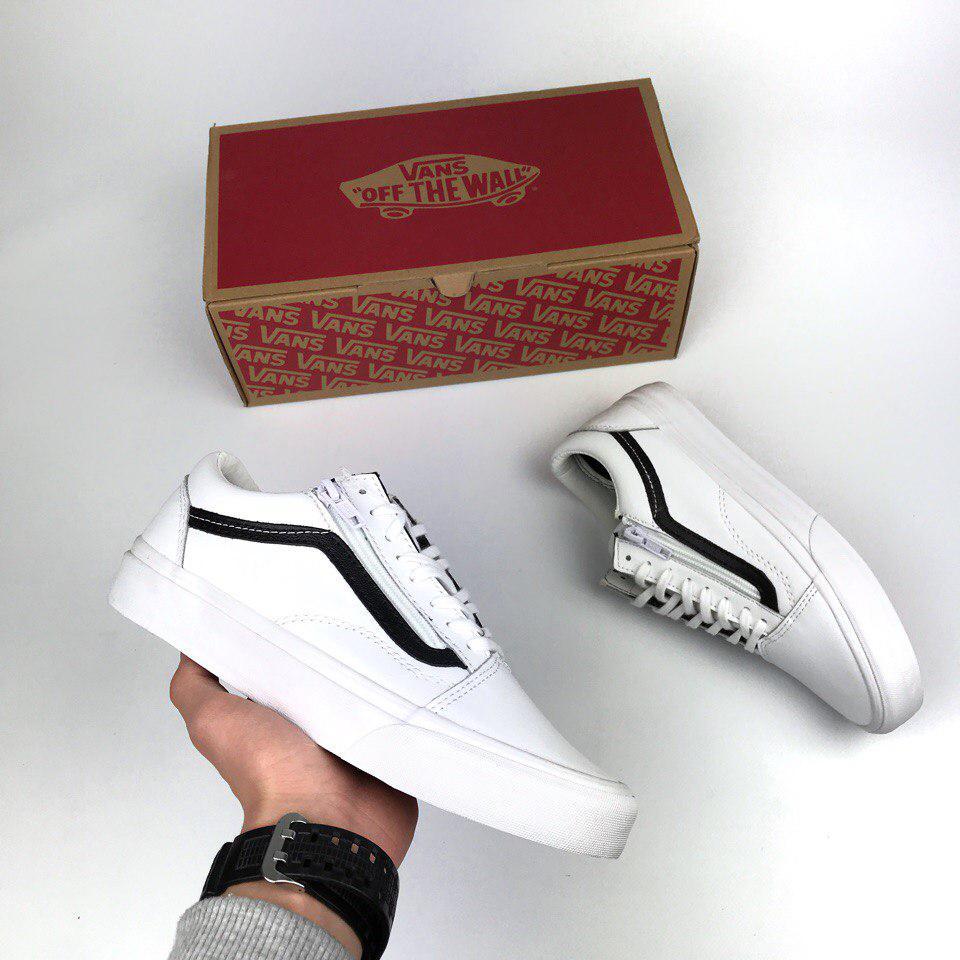 Мужские кеды Vans Old Skool leather white zip, Копия, цена 1 490 грн ... cbe9b005491