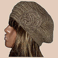 Вязаная женская шапка-берет с цветком бронзового цвета