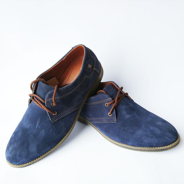 Молодежная, кожаная обувь Харьков Konors из синей замши на шнуровке