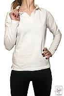 Женская футболка поло с длинным рукавом Printer белая р. S 40 42