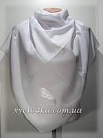 Однотонные натуральные платки с атласной нитью, белый