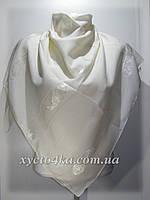 Однотонные натуральные платки с атласной нитью, молочный