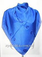 Однотонные натуральные платки с атласной нитью, синий