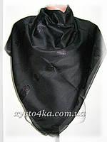 Однотонные натуральные платки с атласной нитью, чёрный