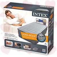 Надувная односпальная кровать 99-191-46 см Intex 64412 + встроенный электронасос 220W