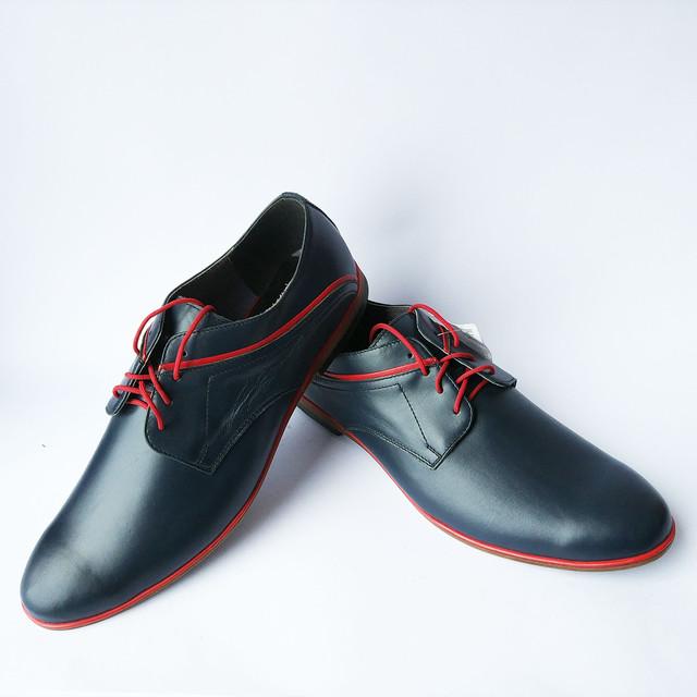 Мужская кожаная польская обувь интернет магазин Para туфли синего цвета на шнуровке Mario Boshetti