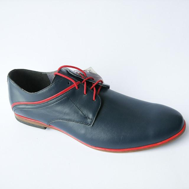 Мужская кожаная польская обувь интернет магазин Para туфли на шнуровке синего цвета Mario Boshetti