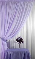 Готовые Шторы комплект для спальни из легкой ткани вуаль бледно фиолетовая 4м.