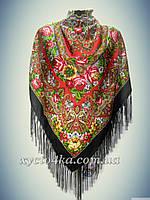 Шерстяной платок, чёрный с красным