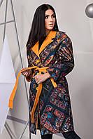 Пальто женское весна-осень с принтом 4105