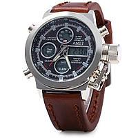 Армейские часы AMST 3003 Silver-Black, кварцевые, противоударные, армейские часы АМСТ черный-серебро, фото 1
