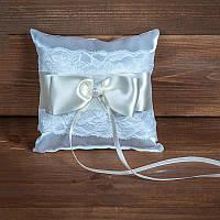 Свадебная подушечка для колец с кружевом (арт. CR-202)