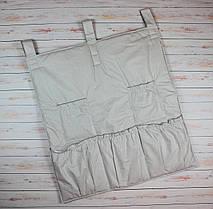 Карман в детскую кроватку для памперсов и бутылочек 70х60 см Клетка серый