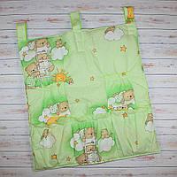 Карман в детскую кроватку для памперсов и бутылочек 70х60 см Мишка на лесинке зеленый