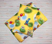 Комплект подушка и одеяло из антиаллергенного силикона Ёжики желтый
