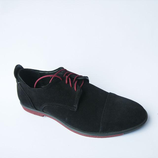 Удобные туфли Харьков мужские замшевые туфли на шнуровке черного цвета