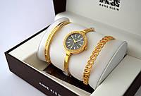 Часы женские - ANNE KLEIN + 2 браслета, золотой цвет с черным цифербл