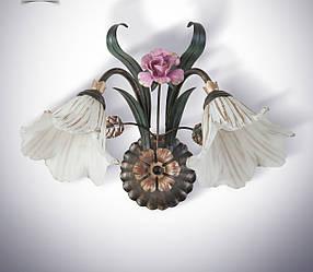 Бра в стиле флористика 2 ламповое с розой  15602-1