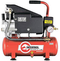 Компрессор 9л, 0.75кВт, 1.0HP, 220 В, 8атм, 160л/мин INTERTOOL PT-0002