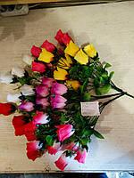 Роза искусственная 7 бутонов, высота 43см