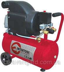Компрессор 24 л, 1,5 HP, 1,1 кВт, 220 В, 8 атм, 190 л/мин INTERTOOL PT-0020