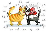 """Открытка """"Влюбленные коты"""", фото 1"""