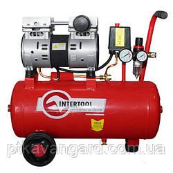 Компрессор 24 л, 1,5 HP, 1,1 кВт, 220 В, 8 атм, 145 л/мин, малошумный, безмасл., 2 цилиндра INTERTOOL PT-0022