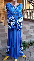 """Вишивка сукня """"Геомтрія"""" тканина льон голубий"""