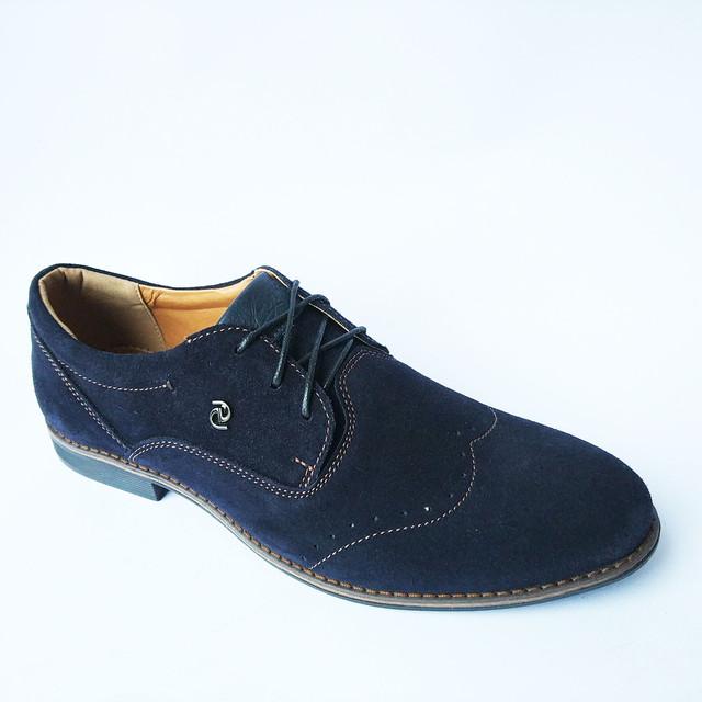 Мужская харьковская кожаная обувь замшевые туфли с перфорацией синего цвета e554b88524c