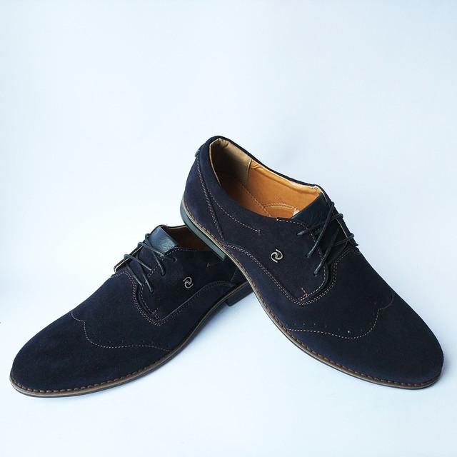 Мужская харьковская кожаная обувь замшевые туфли синего цвета с перфорацией