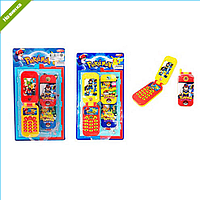 ТЕЛЕФОН DB316-1 PG, звук(англ), свет, 2вида, на бат(табл), на листе 14-25,5-3см, игрушка музыкальная