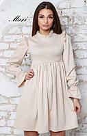 Романтичное женское платье (трикотаж, длина мини, завышенная талия, декор рюши) РАЗНЫЕ ЦВЕТА!
